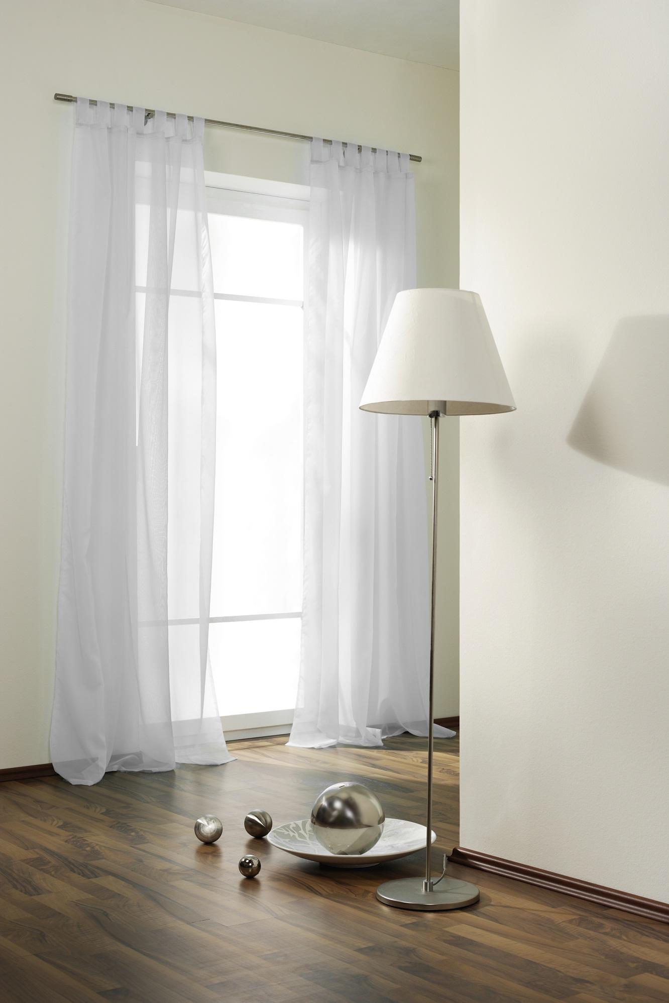 schlaufenschal gardine transparent verschiedene farben ebay. Black Bedroom Furniture Sets. Home Design Ideas